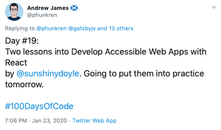 tweet from Andrew James about taking the course