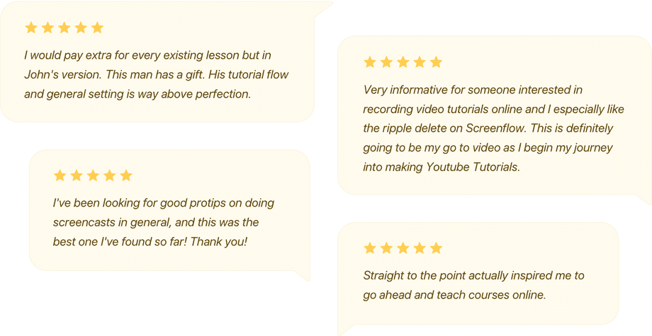 5 star reviews telling us how great the screencast course is